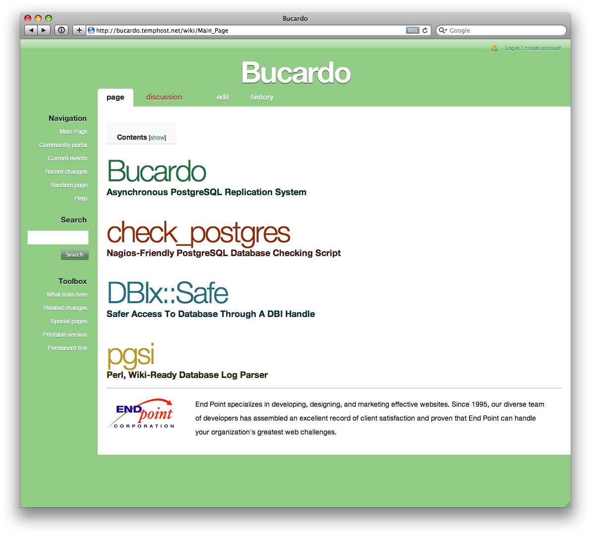 BucardoGreen MediaWiki Theme Screenshot